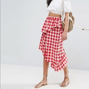 ASOS Asymmetrical Ruffle Gingham Picnic Skirt